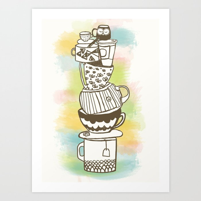 Stack O' Mugs Art Print
