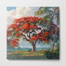 Royal Poinciana Tropical Florida Keys Landscape by A.E. Backus Metal Print