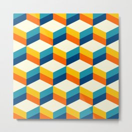 Retro 3D striped cubes pattern teal & orange Metal Print