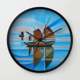 Soft Skies, Cerulean Seas and Cubist Junks Wall Clock