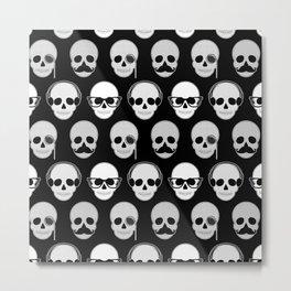 Hipster Skulls Pattern Metal Print