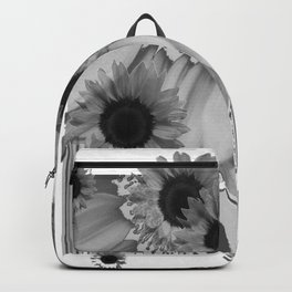 MODERN ABSTRACT BLACK & WHITE FLOWERS GARDEN  ART Backpack