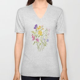 yellow pink white and  purple windflowers 2020 Unisex V-Neck