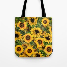 Vintage & Shabby Chic - Noon Sunflowers Garden Tote Bag