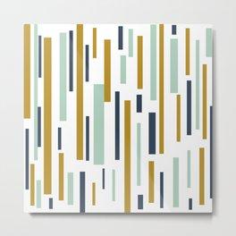 Interrupted Lines Mid-Century Modern Minimalist Pattern in Blue, Mint, and Golden Mustard Metal Print