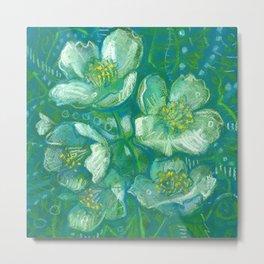 Jasmine, Summer Flowers, Decorative Floral Metal Print