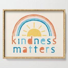Kindness Matters. Typography Design with Rainbow Serving Tray