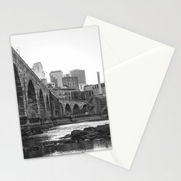 Minneapolis Skyline Black and White Stationery Cards