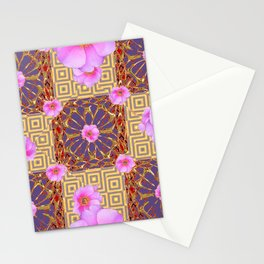 Quilted Style Fuchsia Pink Wild Rose  Grey Pattern Abstract Stationery Cards