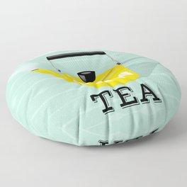 But First Tea - Mint and Yellow Tea Kettle Floor Pillow
