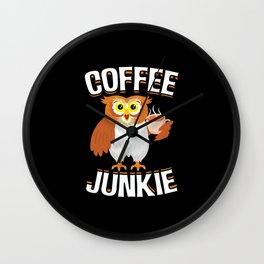 Coffee Junkie Owl Caffeine Coffee Lover Wall Clock