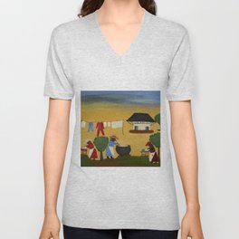 African American Masterpiece 'The Wash' portrait painting by Clementine Hunter   Unisex V-Neck