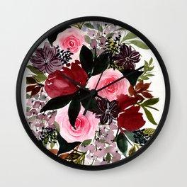 Burgundy Rose Flower Bouquet Wall Clock