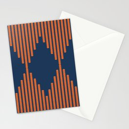 Moon Phases Pattern in Navy Blue and Burnt Orange Stationery Cards