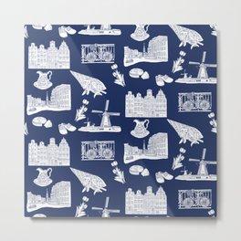 Netherlands Toille de Jouy pattern in Delft Blue background Metal Print