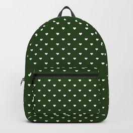 Small White Polka Dot Hearts on Dark Forest Green Backpack