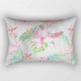 Pink lilac green watercolor hand painted tropical floral flamingos Rectangular Pillow