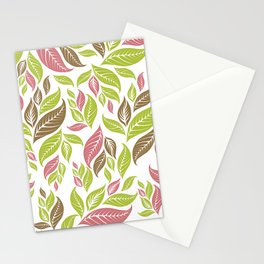 Retro Vintage Inspired Leaf Print in Modern Pink Green Brown Stationery Cards