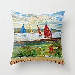 Norfolk Broads Vintage Travel Poster Throw Pillow