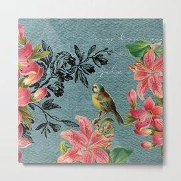 Blue Bird with Black Flower Metal Print