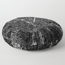 Milan Black Map Floor Pillow
