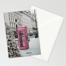 Pink Telephone Booth in the Snow Stationery Cards