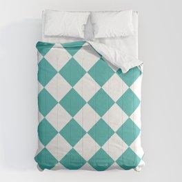 Large Diamonds - White and Verdigris Comforters