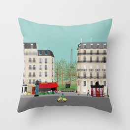 Paris Street Scene Art Print - Daytime Throw Pillow