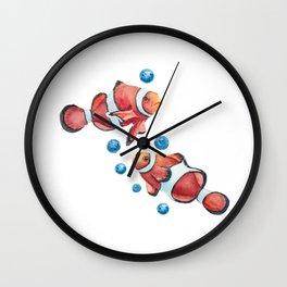 Reef fish clown watercolor Wall Clock