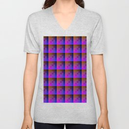 Coral Pink and Classic Blue Checkered Pattern Unisex V-Neck