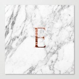 Monogram rose gold marble E Canvas Print