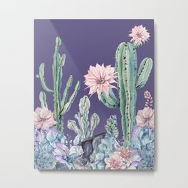 Desert Cactus Succulents + Gemstones on Deep Purple Metal Print