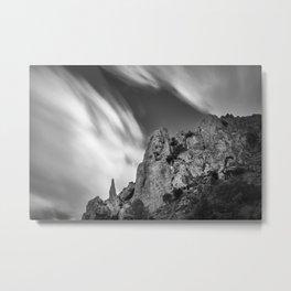 Mountain light. Needles in the sky. BW Metal Print