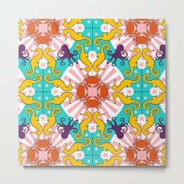 Kaleidoscopic Ocean Animals Metal Print
