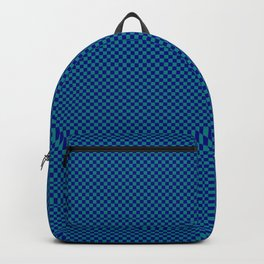 Dark blue and sea green squares Backpack