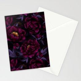 Vintage Dark Night Peonies  Stationery Cards