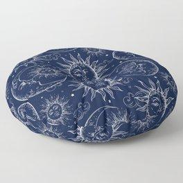 Blue Magic Celestial Sun Moon Stars Floor Pillow