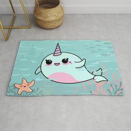 Cute Narwhal and Starfish Rug