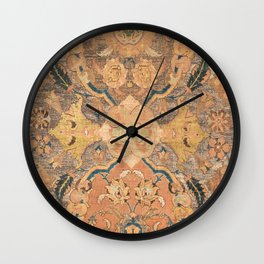 Persian Motif III // 17th Century Ornate Rose Gold Silver Royal Blue Yellow Flowery Accent Rug Patte Wall Clock
