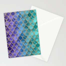 Blue Mermaid Fish Scales Ombre 2 Stationery Cards
