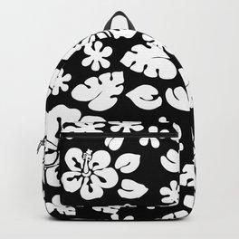 Hawaiian Hibiscus Flower pattern Black Backpack