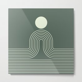 Geometric Lines in Sage Green 3 (Rainbow Sun and Ocean abstraction) Metal Print