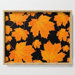 Orange Maple Leaves Black Background #decor #society6 #buyart Serving Tray