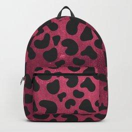 Modern black burgundy red gradient animal print Backpack