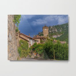 France Peyreleau Aveyron Clock Houses Cities Building Metal Print