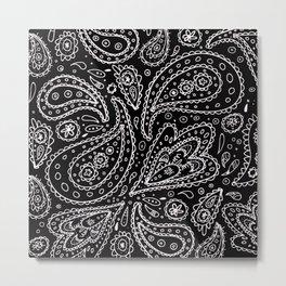 Classic Black and White Paisley Metal Print