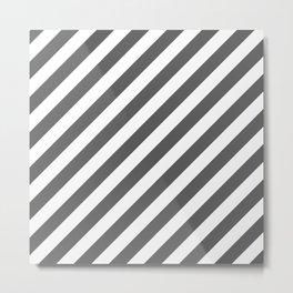 Diagonal Stripes (Grey & White Pattern) Metal Print