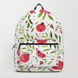 Colorful pomegranate watercolor pattern with green leaves and hearts Backpack