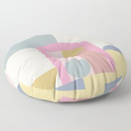 Modern Pastel Architecture Shapes in Pink, Yellow, and Blue Floor Pillow