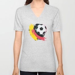 Football ball and red, yellow strokes Unisex V-Neck